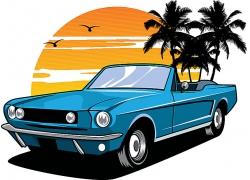 复古汽车主题矢量插画设计