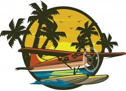 夕阳落日与交通工具主题矢量插画设计