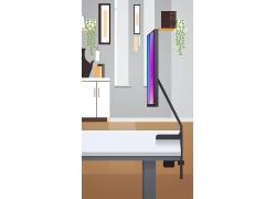 电脑屏幕与室内房间
