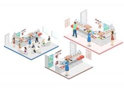 创意等距人物与模拟现实场景插画设计