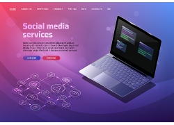 紫色渐变互联网信息技术主题网页插画设计