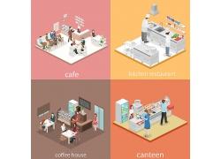 创意等距2.5D人物模拟现实场景插画设计