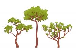 绿色植物绿叶藤草树元素矢量插画