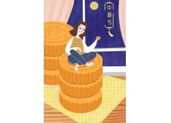 创意传统节日中秋佳节月饼主题插画背景