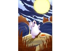 创意传统节日中秋佳节嫦娥玉兔主题插画背景
