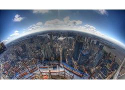 高空俯瞰現代城市