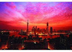 上海紅色的夕陽日落