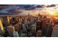 紐約金融世貿中心的夕陽