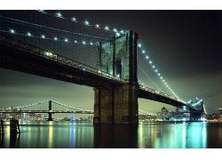 紐約市布魯克林大橋夜景