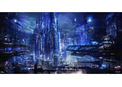 科幻小說科技城市場景