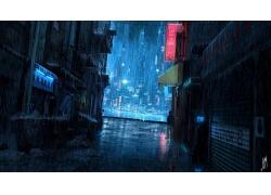 雨天的城市街道