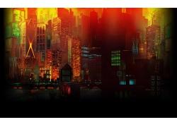 彩色动漫城市插画图片