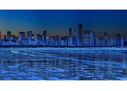 藍色的繁華城市背景