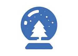 圣诞树水晶球主题矢量UI图标LOGO设计