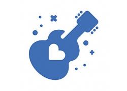 吉他主题矢量UI图标LOGO设计