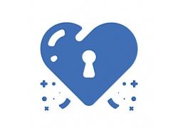 心形锁主题矢量UI图标LOGO设计