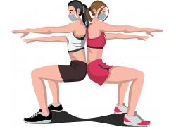 戴口罩运动健身的年轻男女